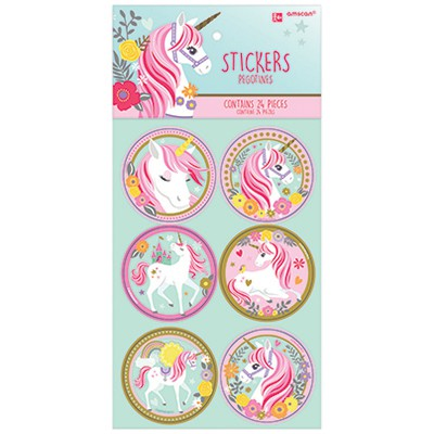PARTY FAVOURS - UNICORN STICKERS - PACK OF 24