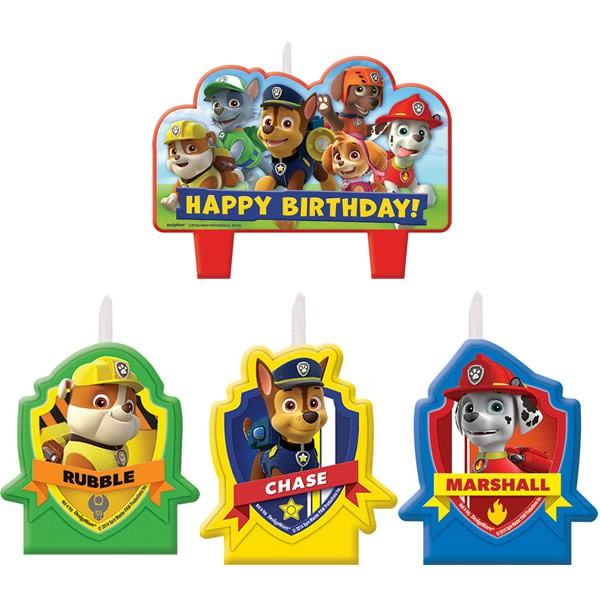 PAW PATROL HAPPY BIRTHDAY CANDLE SET OF 4