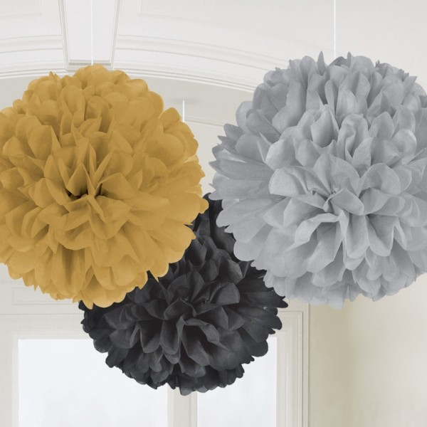 POM POM FLUFFY DECORATION - GOLD, BLACK & SILVER PK 3