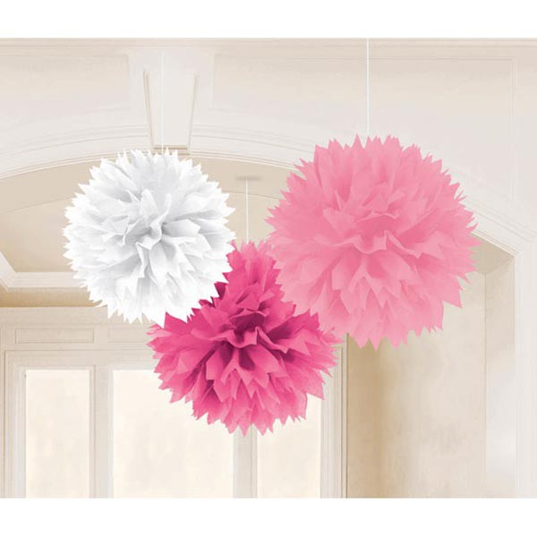 POM POM FLUFFY TISSUE DECORATION - PINKS & WHITE PACK OF 3