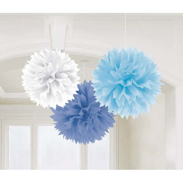 POM POM FLUFFY TISSUE DECORATION - BLUES & WHITE IN A PACK OF 3
