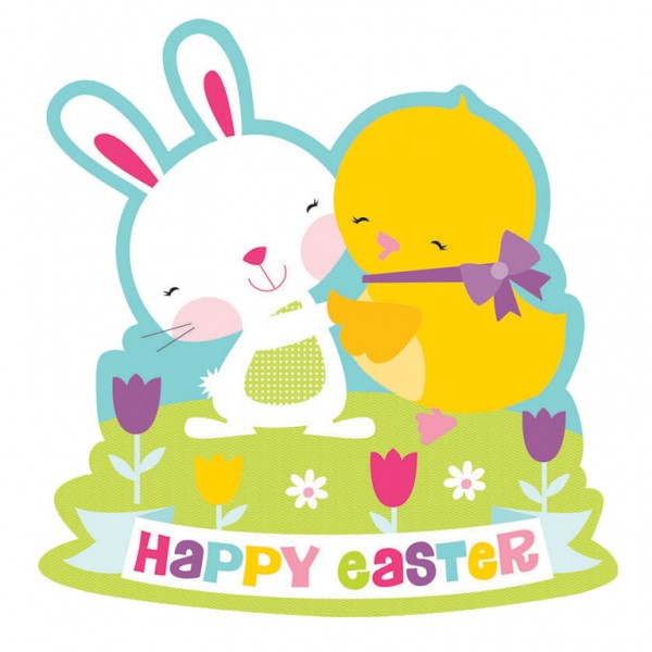 HAPPY EASTER CHICK & BUNNY CUT OUT