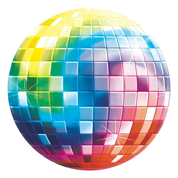 DISCO MIRROR BALL MULTI COLOURED CUT OUT 27CM