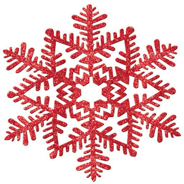 Image of Snowflake Glittered Red  17cm