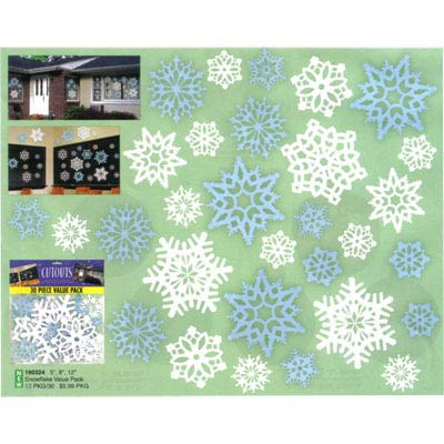SNOWFLAKES CUT OUTS SILVER & WHITE PACK 30