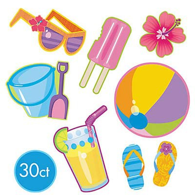 BEACH SUMMER CUT OUTS - VALUE PACK OF 30