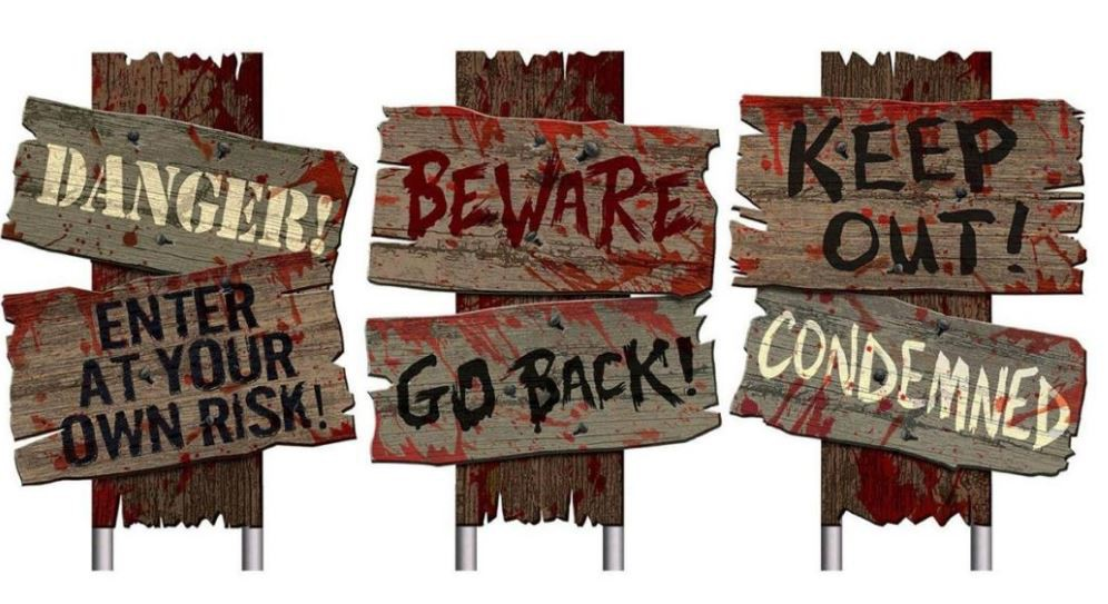 HALLOWEEN CEMETERY BLOOD STAINED SIDEWALK SIGNS - PACK 3