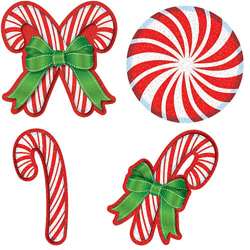CANDY CANE GLITTER CUT OUTS MEGA PACK OF 20