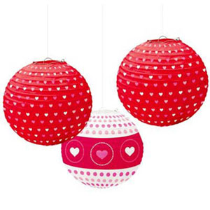 CHINESE PAPER LANTERN - LOVE HEART DESIGN PACK OF 3