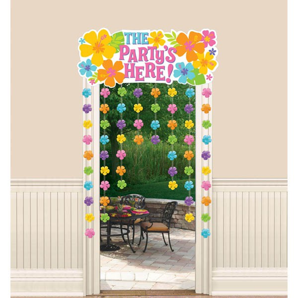 DOOR COVER - HAWAIIAN HIBISCUS WITH 'THE PARTY'S HERE' SIGN
