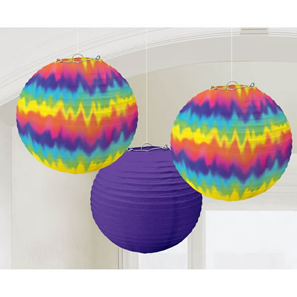 TYE DYE FEELING GROOVY LANTERNS - PACK OF 3