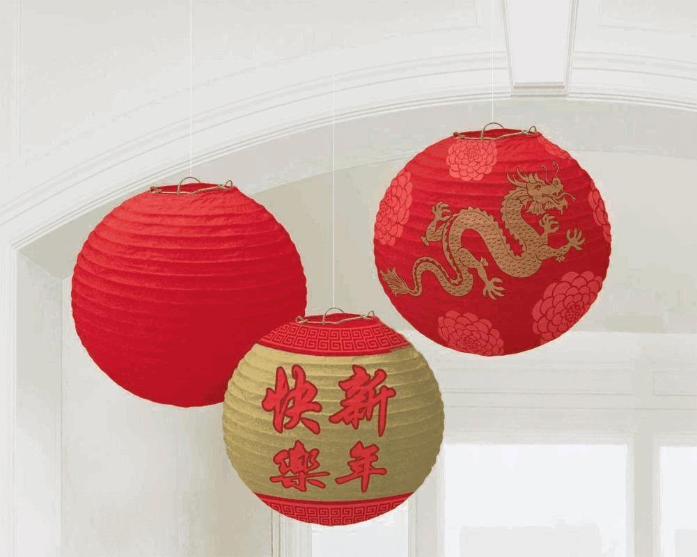 CHINESE NEW YEAR LANTERNS - PACK OF 3