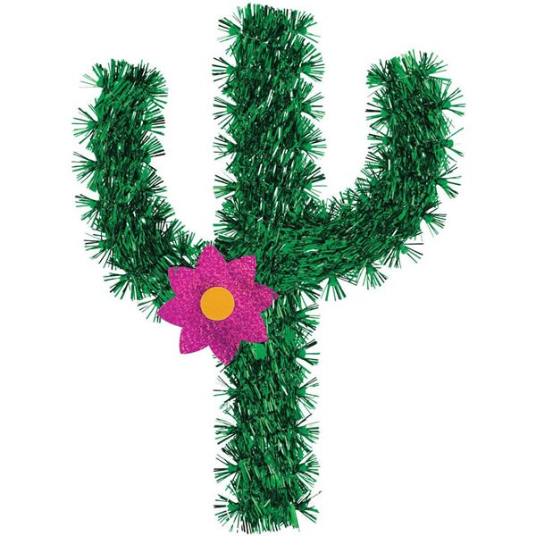 CACTUS TINSEL HANGING DECORATION WITH FOIL MAGENTA FLOWER