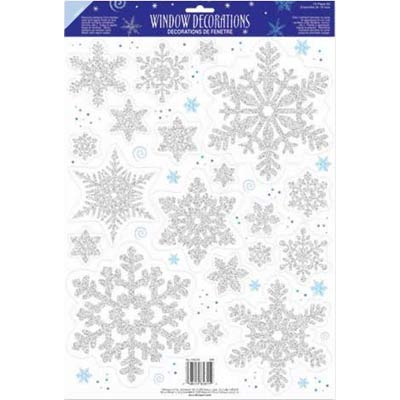 SNOWFLAKE GLITTER WINDOW CLINGS - SILVER