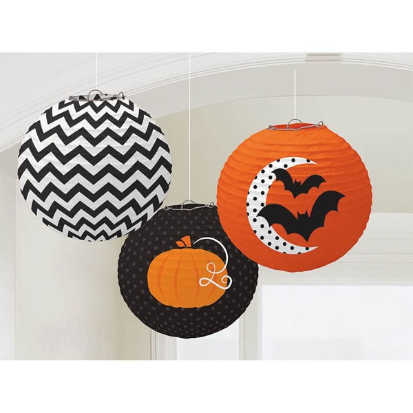 CHINESE PAPER HALLOWEEN LANTERNS - SET OF 3