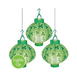 ST PATRICKS DAY LIGHT UP LANTERNS PACK OF 3