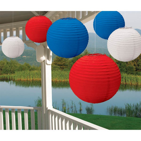 PATRIOTIC RED, WHITE & BLUE 30CM CHINESE LANTERNS VALUE PK OF 6