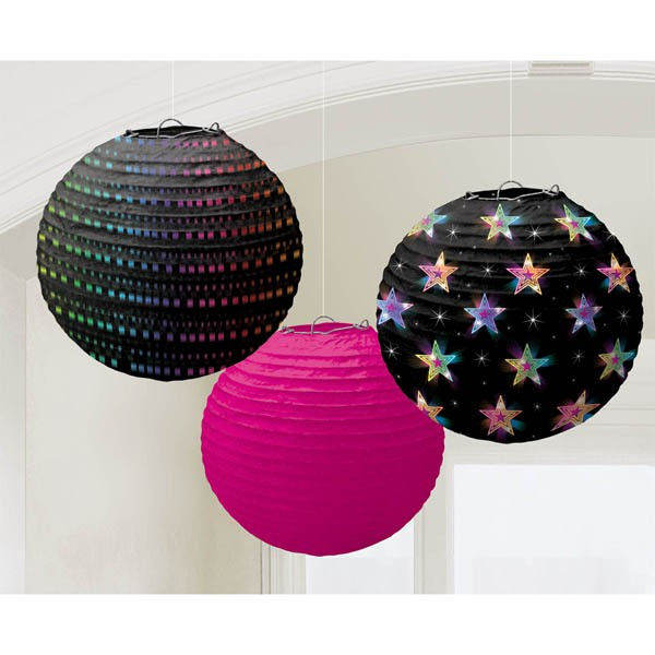 DISCO FEVER CHINESE PAPER LANTERNS PACK OF 3