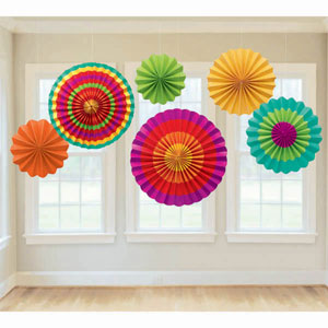 MEXICAN FIESTA TISSUE FANS PACK OF 6