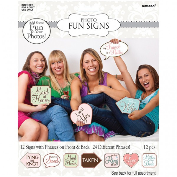 SELFIE PHOTO BOOTH PROPS - HEN'S NIGHT SIGNS PACK OF 12