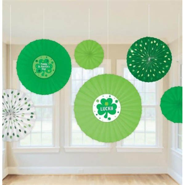 ST PATRICK'S DAY FAN DECORATION PACK OF 6
