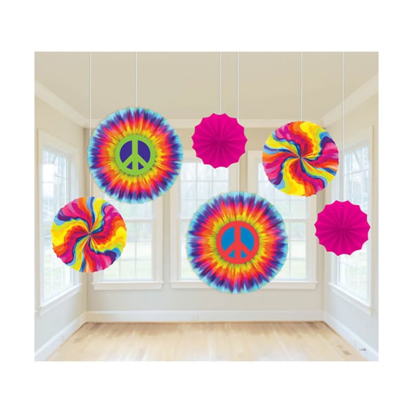 HIPPIE TYE DYE TISSUE FANS PACK OF 6