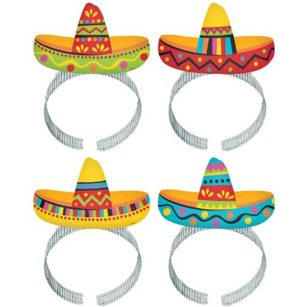 SOMBRERO FIESTA HEADBANDS - PACK OF 8