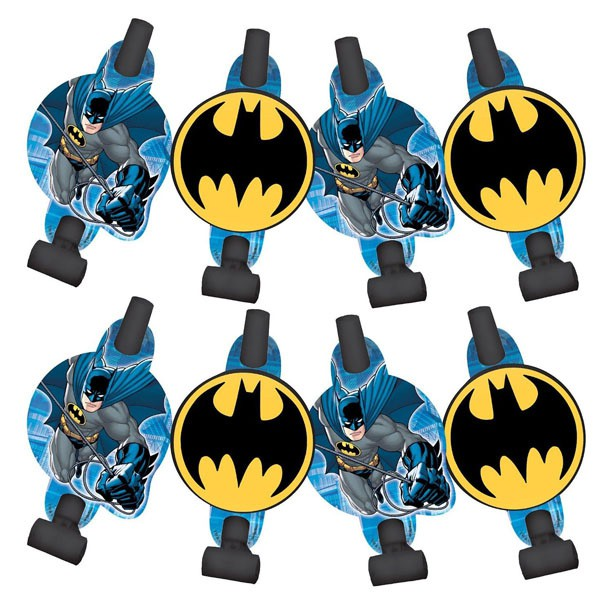 BATMAN PARTY BLOWOUTS WITH MEDALLIONS - PACK OF 8