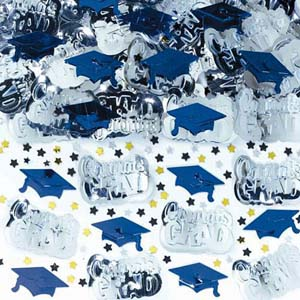 TABLE SCATTERS - GRADUATION CAP BLUE & SILVER WITH STARS