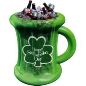 INFLATABLE BEER MUG COOLER WITH SHAMROCK