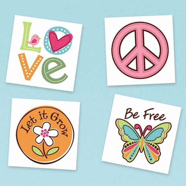 GROOVY HIPPIE TATTOOS - PACK OF 16