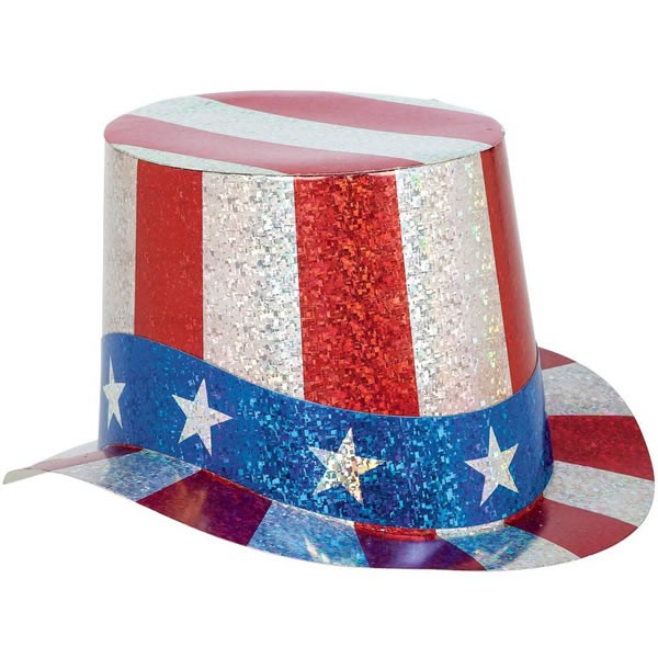AMERICAN PATRIOTIC HOLOGRAPHIC TOP HAT