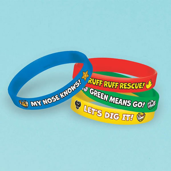 PAW PATROL PARTY FAVOURS - RUBBER BRACELETS PACK OF 4