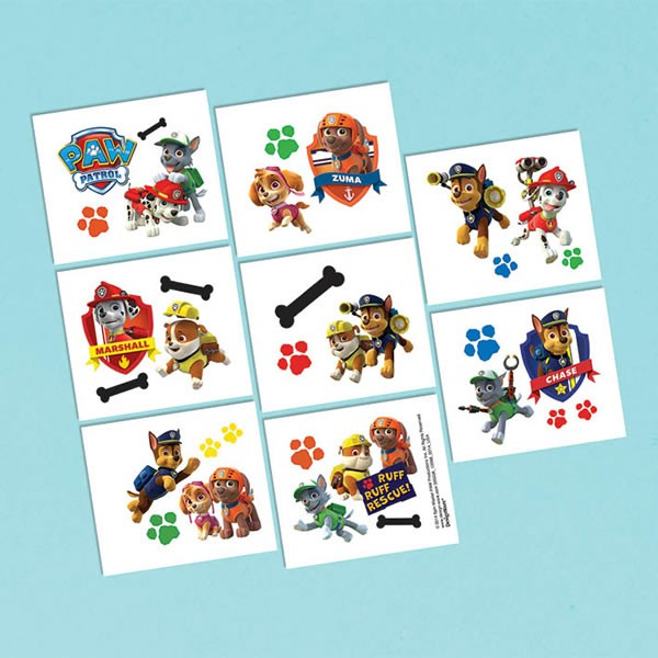 PAW PATROL PARTY FAVOURS - TATTOOS PACK OF 16