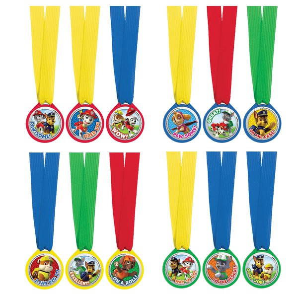PAW PATROL PARTY FAVOURS - MEDALLIONS PACK OF 12