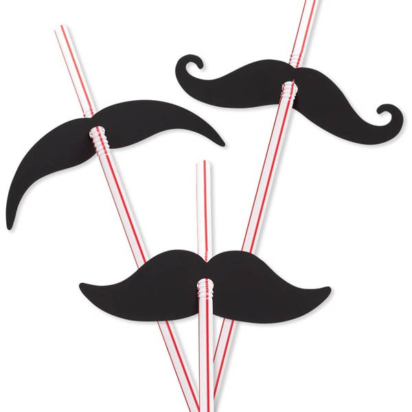 MOUSTACHE STRAWS PACK OF 12