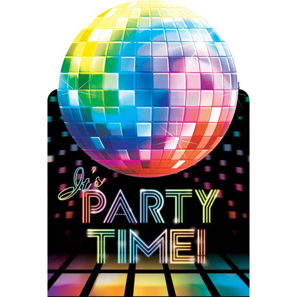 DISCO FEVER PARTY INVITATIONS PACK OF 8
