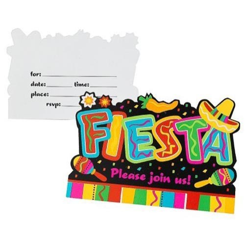 MEXICAN FIESTA FUN POSTCARD STYLE INVITATIONS - PACK OF 8