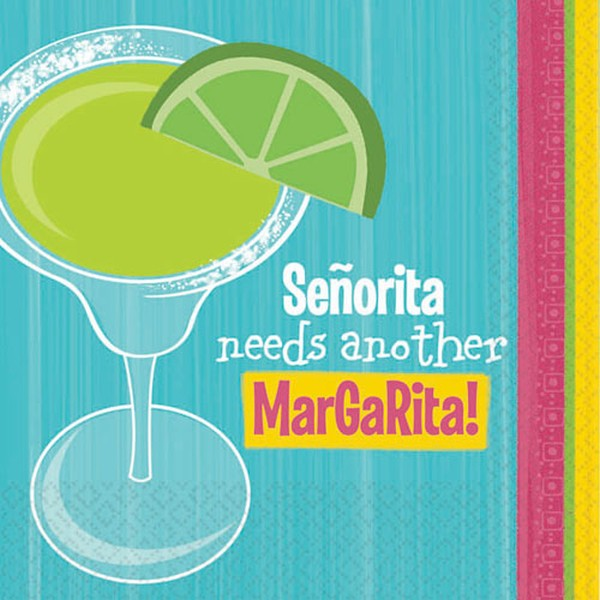 MEXICAN \'SENORITA NEEDS ANOTHER MARGARITA\' NAPKINS - PACK OF 16