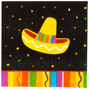 MEXICAN FIESTA FUN COCKTAIL NAPKINS PACK OF 16<b>