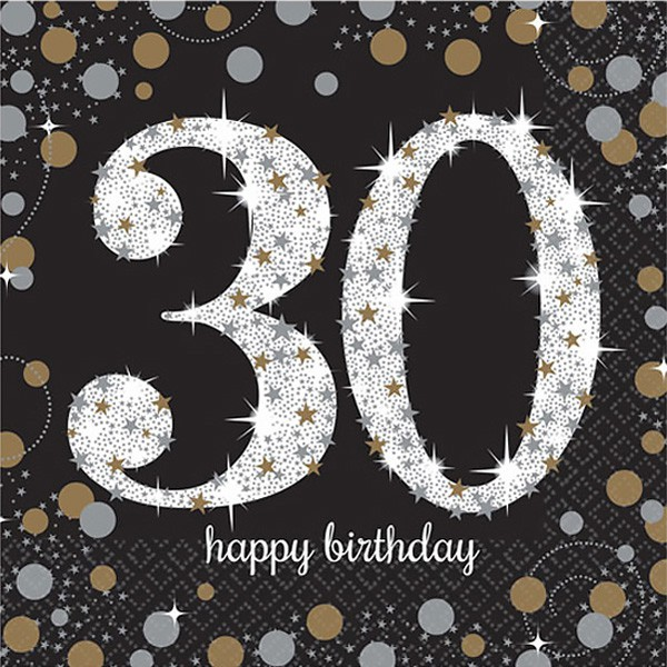 30TH BIRTHDAY NAPKINS - SPARKLING BLACK & GOLD PACK OF 16