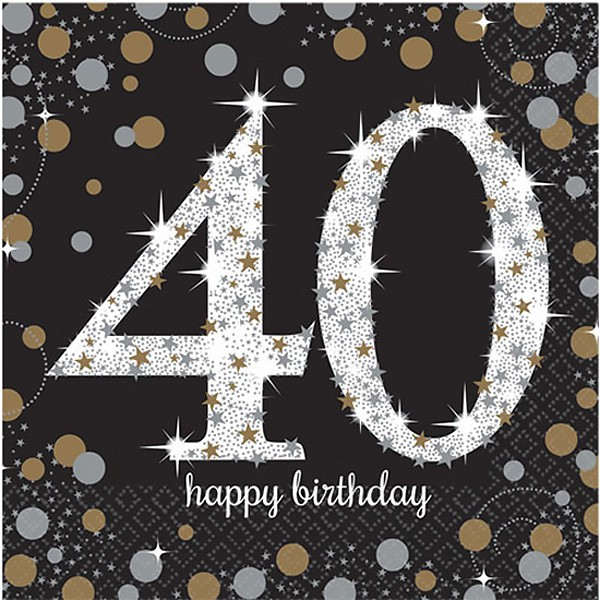40TH BIRTHDAY NAPKINS - SPARKLING BLACK & GOLD PACK OF 16