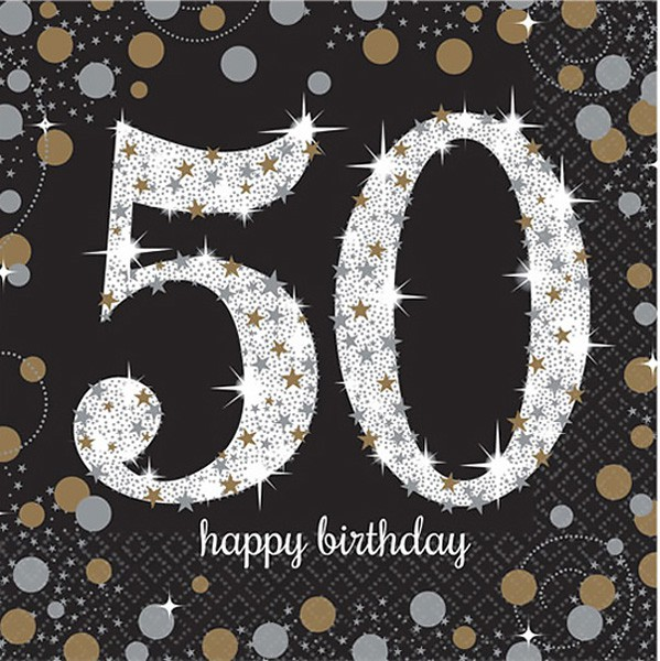 50TH BIRTHDAY NAPKINS - SPARKLING BLACK & GOLD PACK OF 16