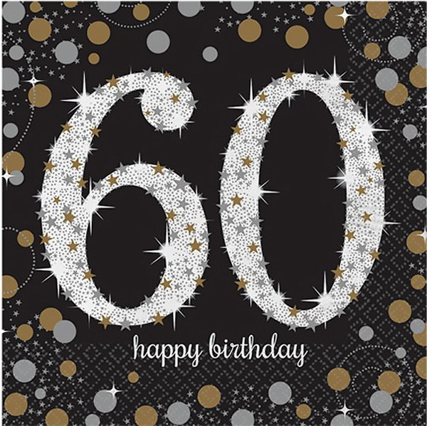 60TH BIRTHDAY NAPKINS SPARKLING BLACK & GOLD - PACK OF 16