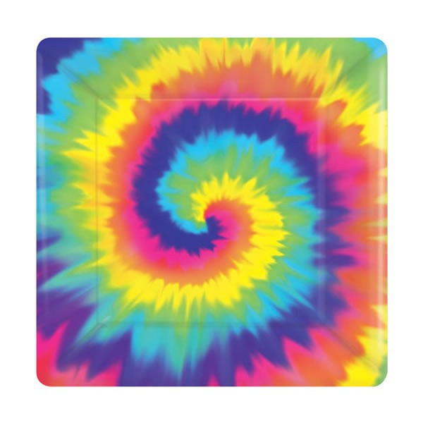 TYE DYED SNACK PLATES - PACK OF 8