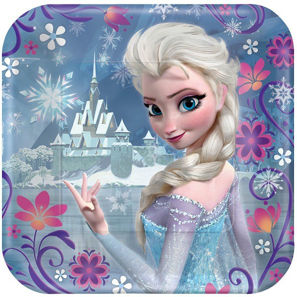 DISNEY FROZEN SQUARE COCKTAIL PLATES - PACK OF 8