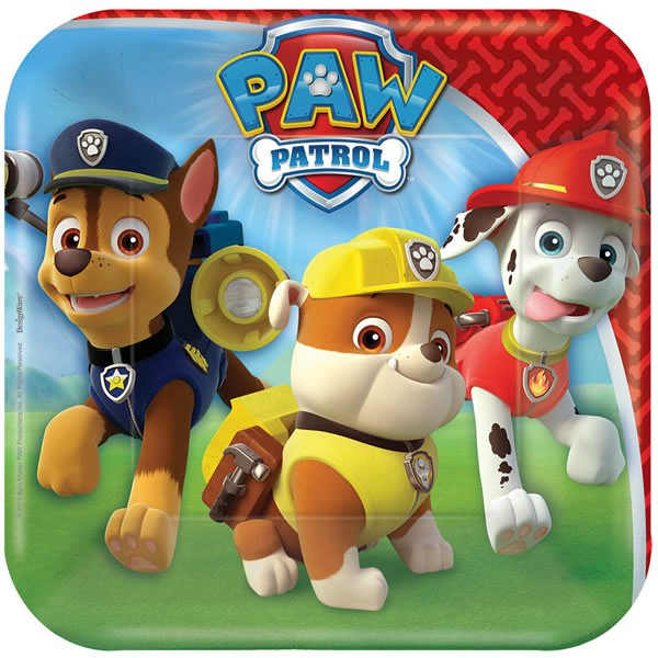 PAW PATROL SQUARE LUNCH PLATES - PACK OF 8