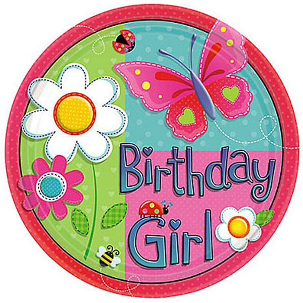 BUTTERFLY GARDEN GIRL PLATES - PACK OF 8