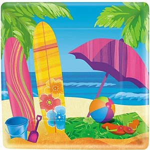 SURFS UP SNACK PLATES - PACK OF 8