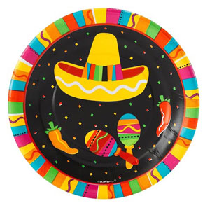 MEXICAN FIESTA FUN LUNCHEON PLATES PACK OF 8